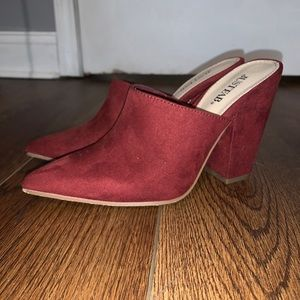 Just fab red heel mules
